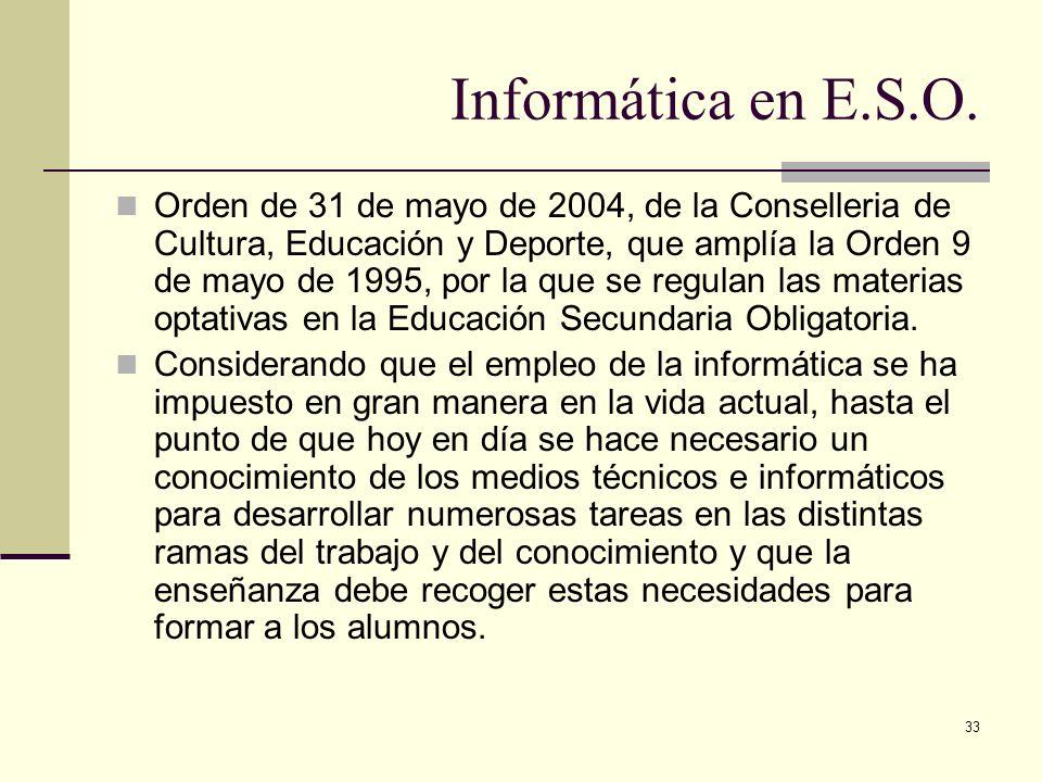 33 Informática en E.S.O. Orden de 31 de mayo de 2004, de la Conselleria de Cultura, Educación y Deporte, que amplía la Orden 9 de mayo de 1995, por la