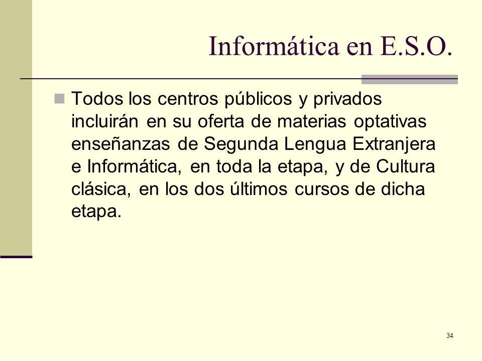 34 Informática en E.S.O. Todos los centros públicos y privados incluirán en su oferta de materias optativas enseñanzas de Segunda Lengua Extranjera e