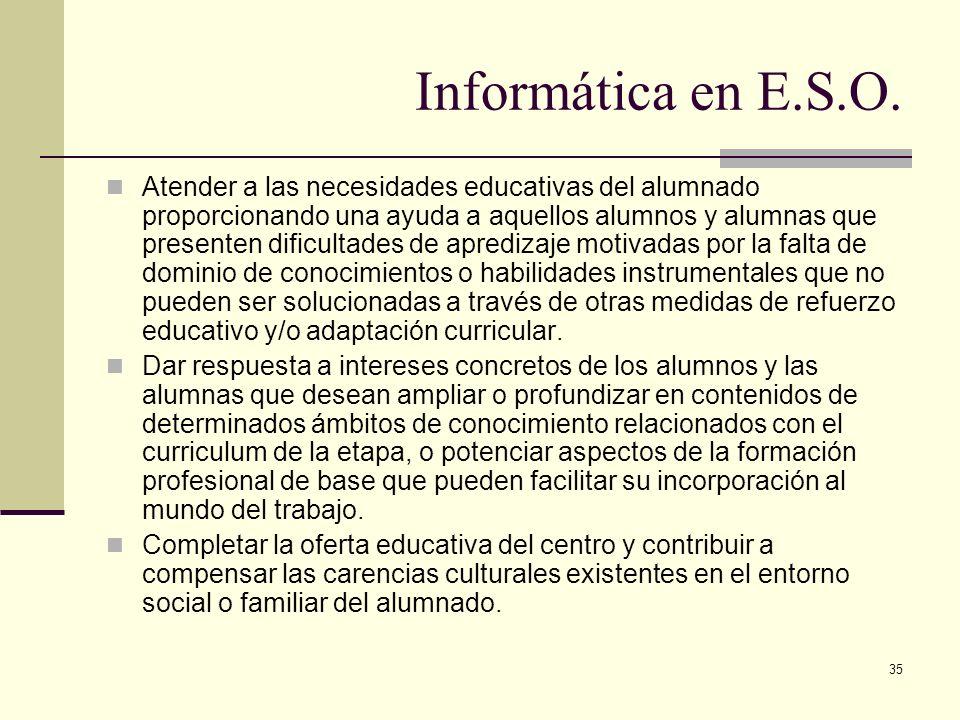 35 Informática en E.S.O. Atender a las necesidades educativas del alumnado proporcionando una ayuda a aquellos alumnos y alumnas que presenten dificul