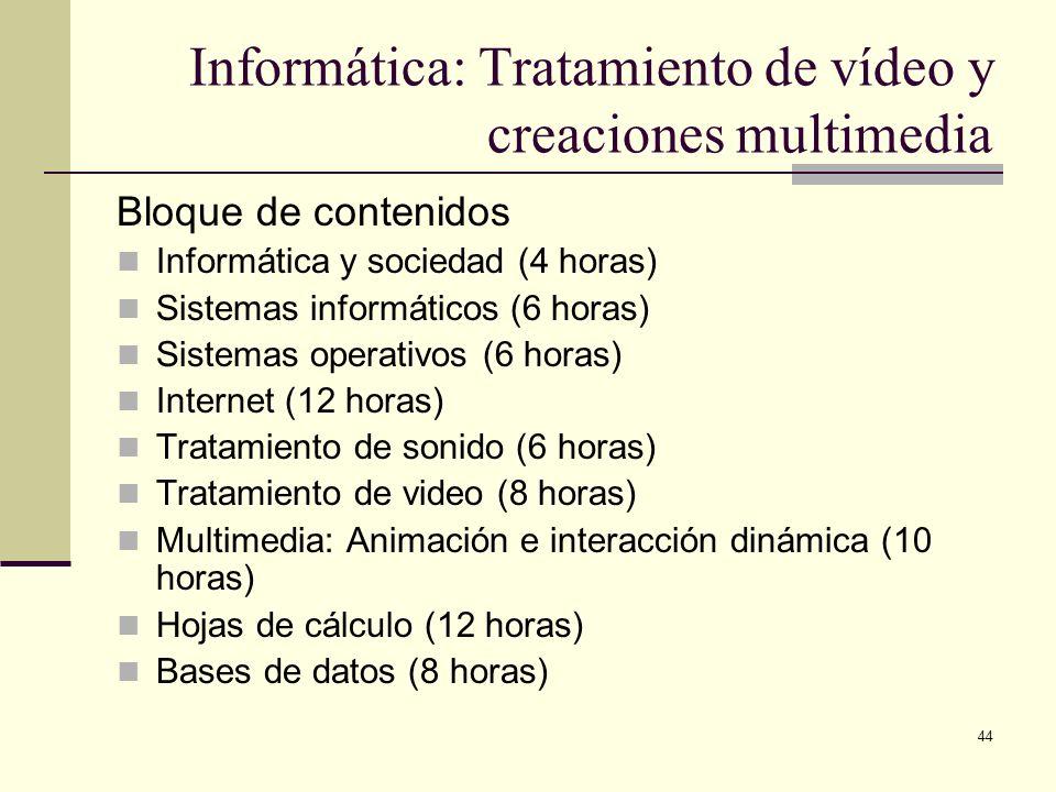 44 Informática: Tratamiento de vídeo y creaciones multimedia Bloque de contenidos Informática y sociedad (4 horas) Sistemas informáticos (6 horas) Sis