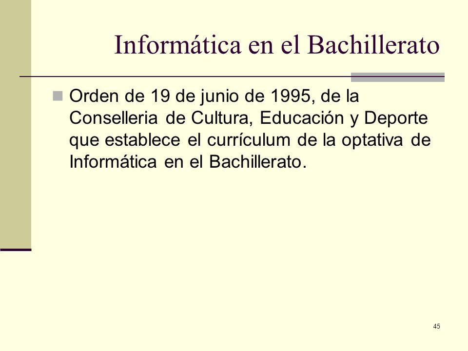45 Informática en el Bachillerato Orden de 19 de junio de 1995, de la Conselleria de Cultura, Educación y Deporte que establece el currículum de la op