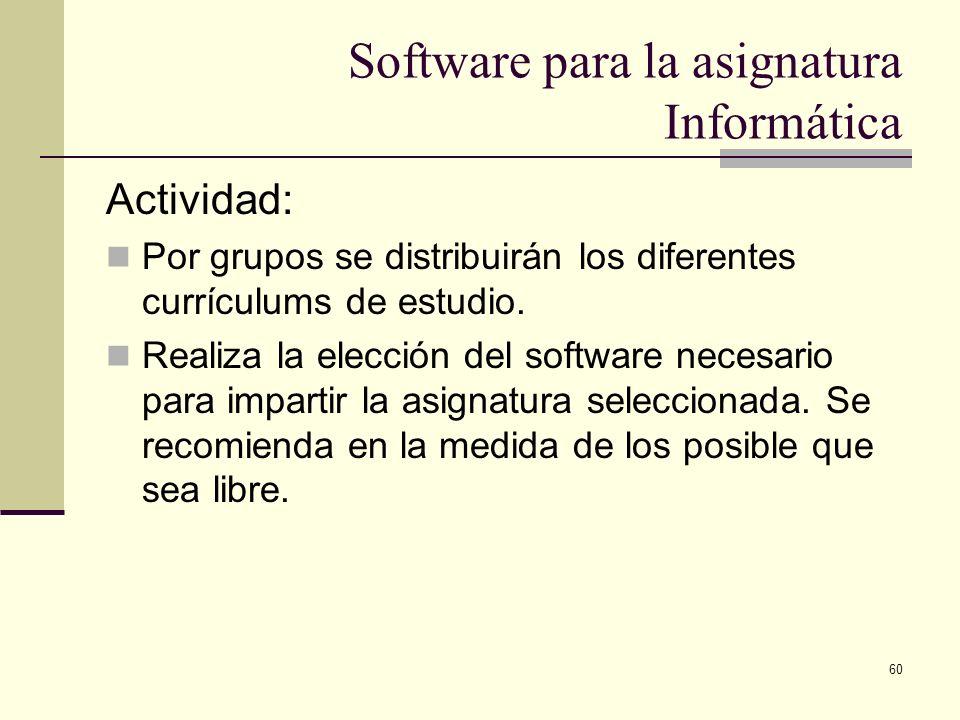60 Software para la asignatura Informática Actividad: Por grupos se distribuirán los diferentes currículums de estudio. Realiza la elección del softwa