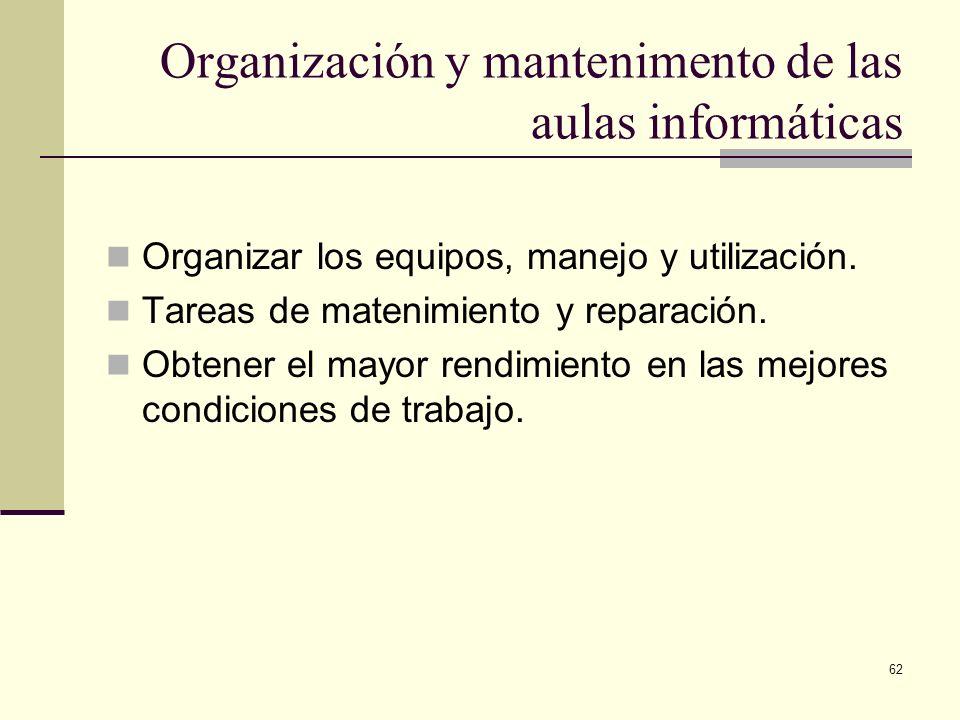 62 Organización y mantenimento de las aulas informáticas Organizar los equipos, manejo y utilización. Tareas de matenimiento y reparación. Obtener el