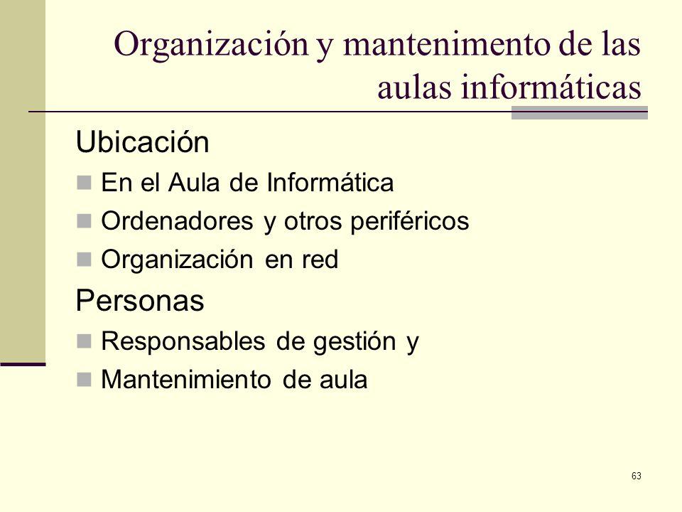 63 Organización y mantenimento de las aulas informáticas Ubicación En el Aula de Informática Ordenadores y otros periféricos Organización en red Perso