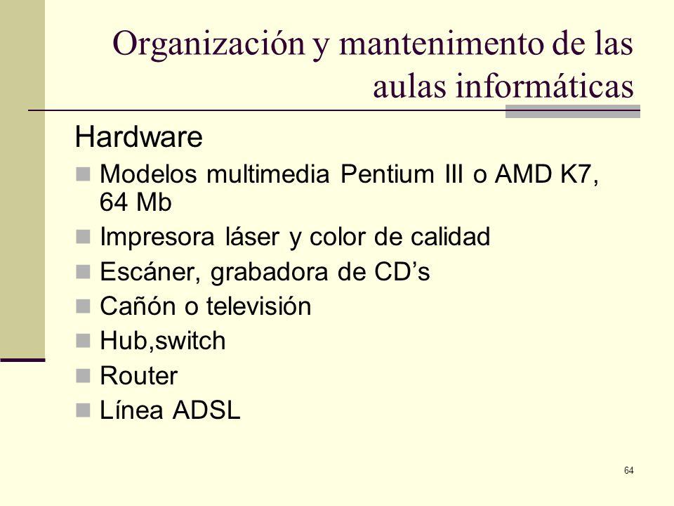 64 Organización y mantenimento de las aulas informáticas Hardware Modelos multimedia Pentium III o AMD K7, 64 Mb Impresora láser y color de calidad Es