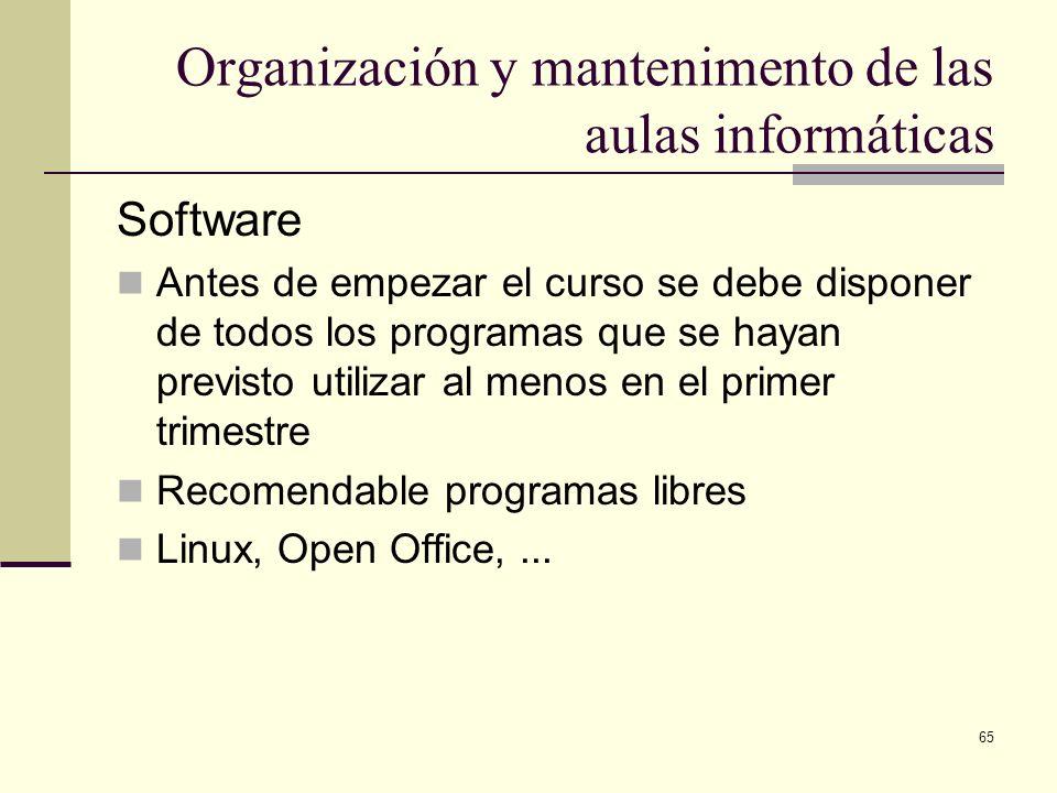 65 Organización y mantenimento de las aulas informáticas Software Antes de empezar el curso se debe disponer de todos los programas que se hayan previ