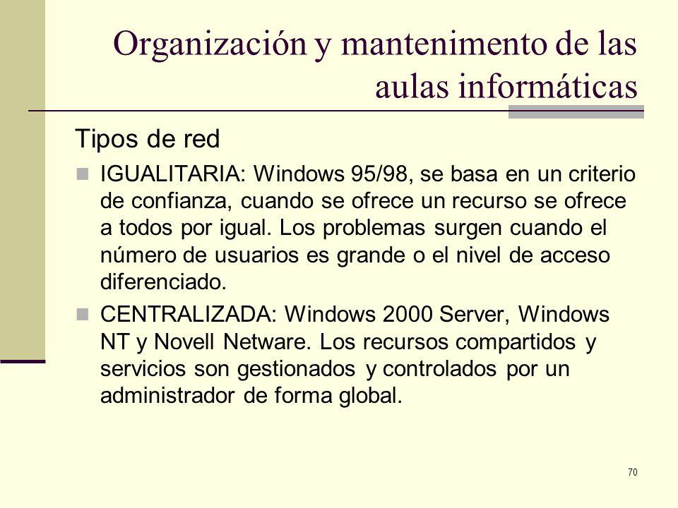 70 Organización y mantenimento de las aulas informáticas Tipos de red IGUALITARIA: Windows 95/98, se basa en un criterio de confianza, cuando se ofrec
