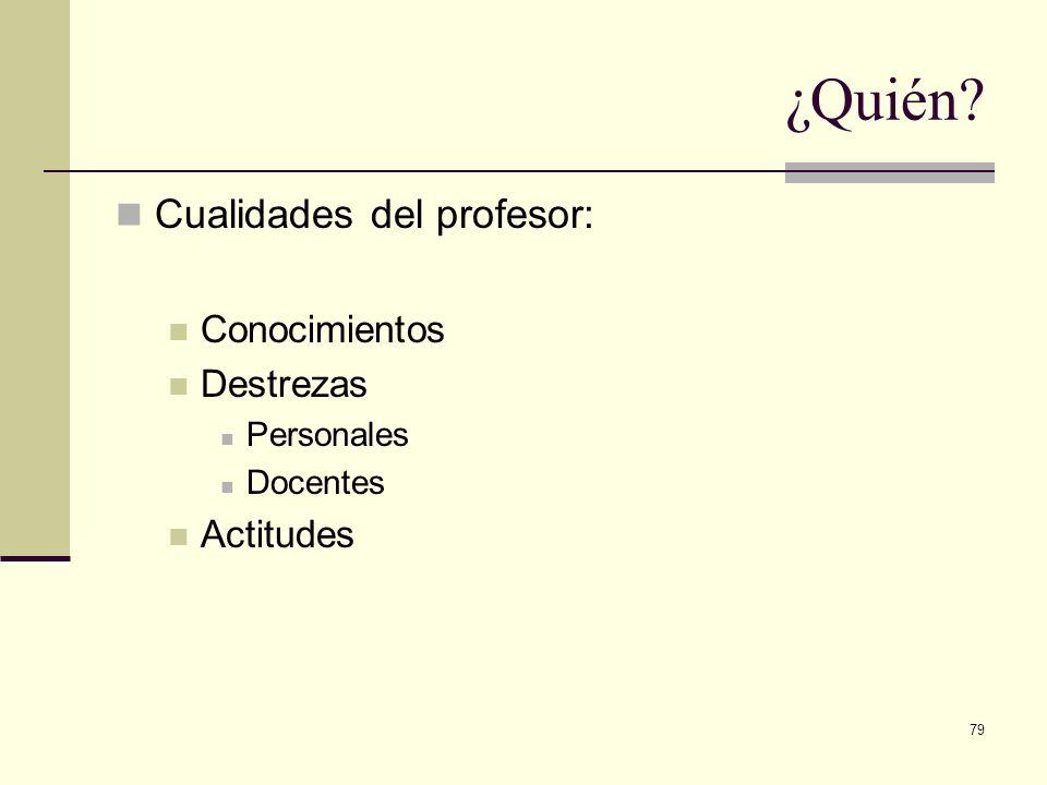 79 Cualidades del profesor: Conocimientos Destrezas Personales Docentes Actitudes ¿Quién?
