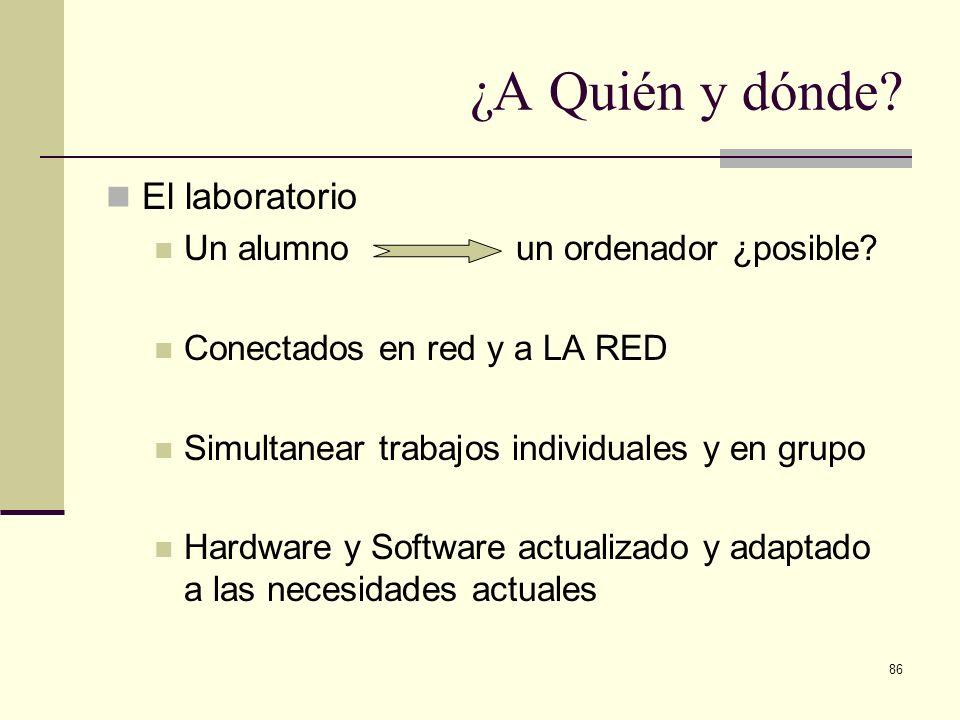 86 ¿A Quién y dónde? El laboratorio Un alumno un ordenador ¿posible? Conectados en red y a LA RED Simultanear trabajos individuales y en grupo Hardwar