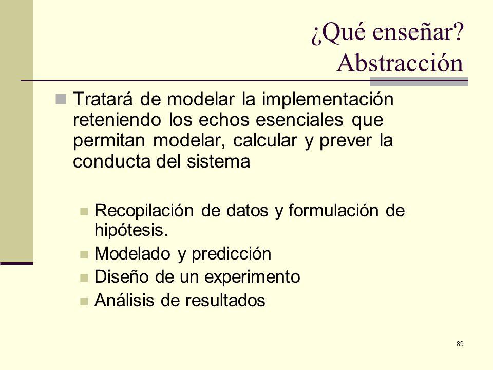 89 ¿Qué enseñar? Abstracción Tratará de modelar la implementación reteniendo los echos esenciales que permitan modelar, calcular y prever la conducta