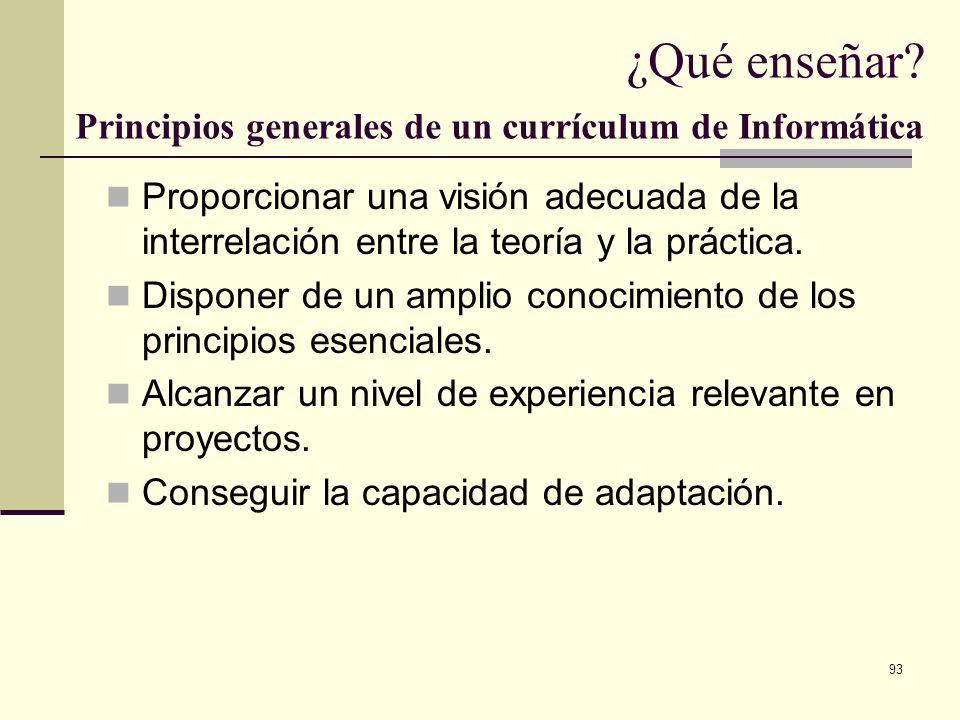 93 ¿Qué enseñar? Principios generales de un currículum de Informática Proporcionar una visión adecuada de la interrelación entre la teoría y la prácti