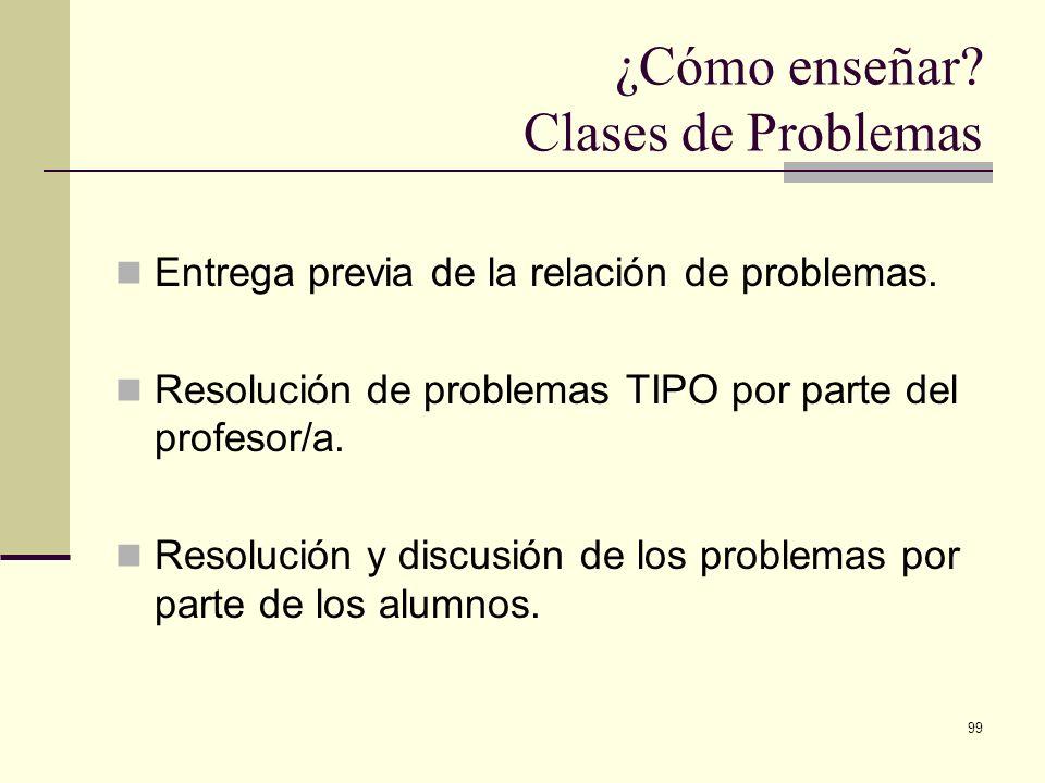 99 ¿Cómo enseñar? Clases de Problemas Entrega previa de la relación de problemas. Resolución de problemas TIPO por parte del profesor/a. Resolución y