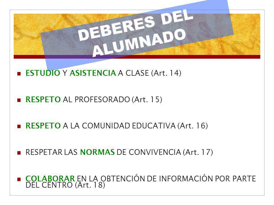 DEBERES DEL ALUMNADO ESTUDIO Y ASISTENCIA A CLASE (Art. 14) RESPETO AL PROFESORADO (Art. 15) RESPETO A LA COMUNIDAD EDUCATIVA (Art. 16) RESPETAR LAS N