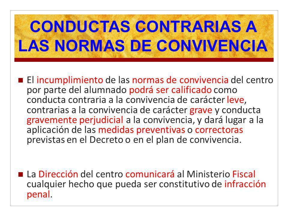 CONDUCTAS CONTRARIAS A LAS NORMAS DE CONVIVENCIA El incumplimiento de las normas de convivencia del centro por parte del alumnado podrá ser calificado
