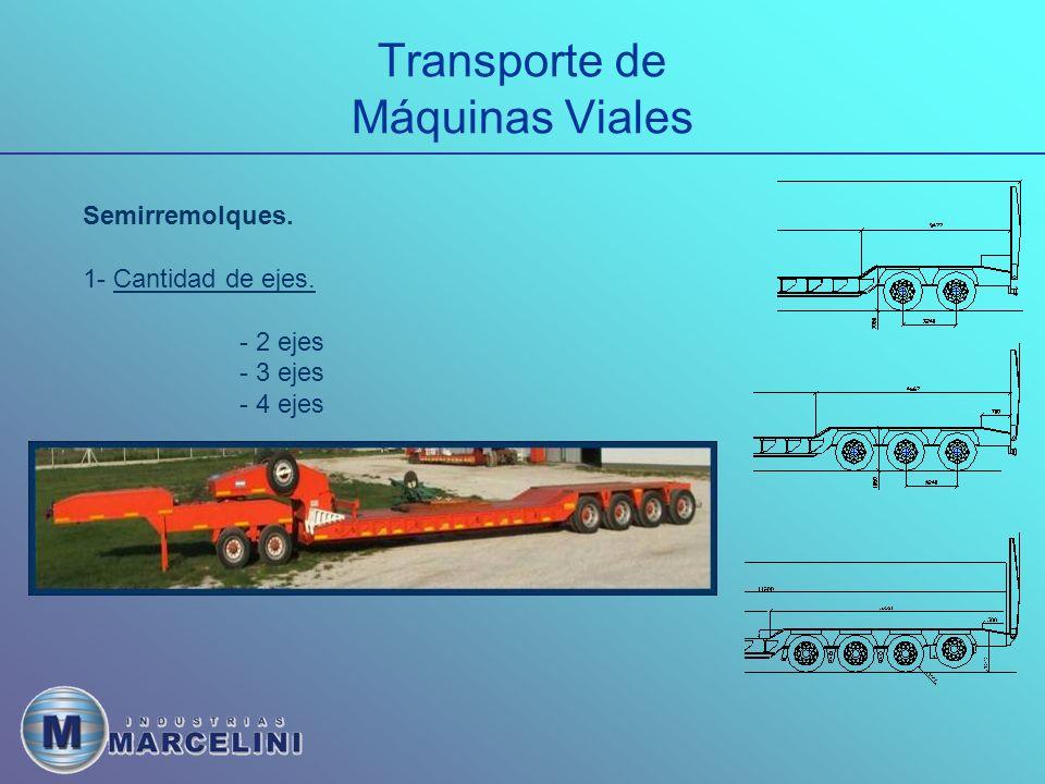 Transporte de Máquinas Viales Semirremolques. 1- Cantidad de ejes. - 2 ejes - 3 ejes - 4 ejes