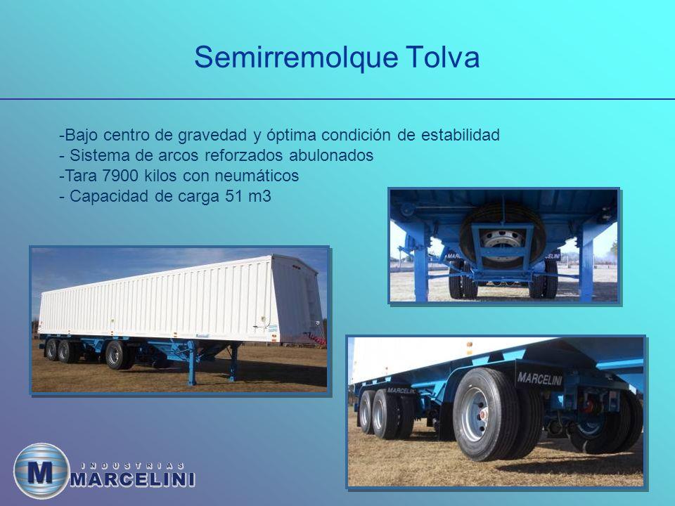 Semirremolque Tolva -Bajo centro de gravedad y óptima condición de estabilidad - Sistema de arcos reforzados abulonados -Tara 7900 kilos con neumáticos - Capacidad de carga 51 m3