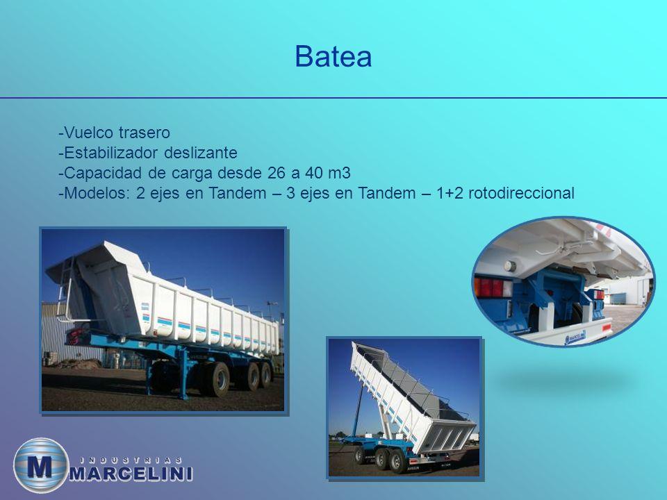 Batea -Vuelco trasero -Estabilizador deslizante -Capacidad de carga desde 26 a 40 m3 -Modelos: 2 ejes en Tandem – 3 ejes en Tandem – 1+2 rotodireccional