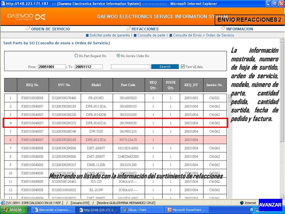 Mostrando un listado con la información del surtimiento de refacciones La información mostrada, numero de hoja de surtido, orden de servicio, modelo,