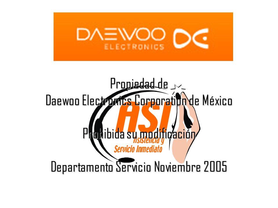 Propiedad de Daewoo Electronics Corporation de México Prohibida su modificación Departamento Servicio Noviembre 2005