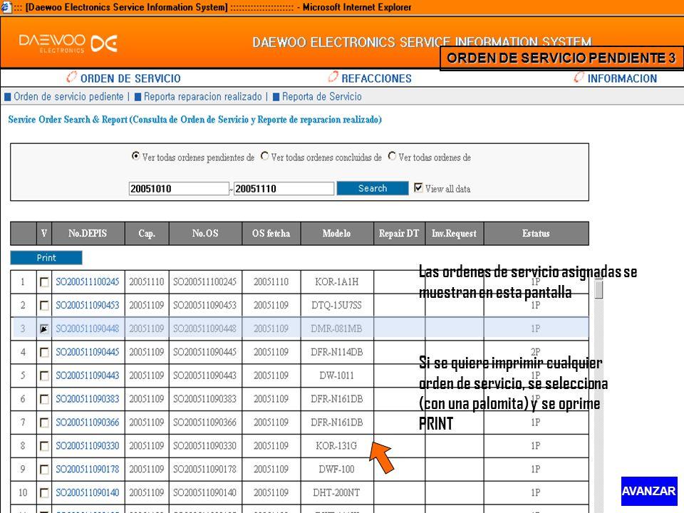 Las ordenes de servicio asignadas se muestran en esta pantalla Si se quiere imprimir cualquier orden de servicio, se selecciona (con una palomita) y s