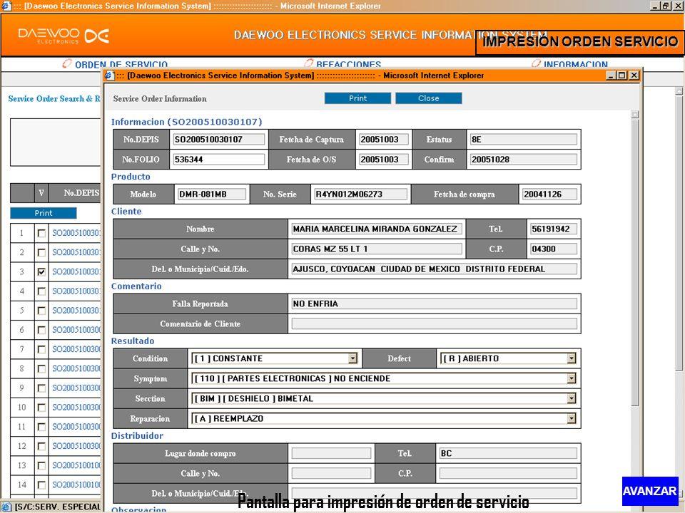 IMPRESIÓN ORDEN SERVICIO Pantalla para impresión de orden de servicio AVANZAR