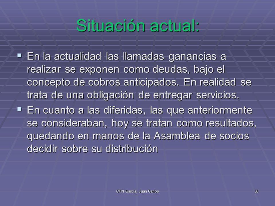 CPN García, Juan Carlos36 Situación actual: En la actualidad las llamadas ganancias a realizar se exponen como deudas, bajo el concepto de cobros anticipados.