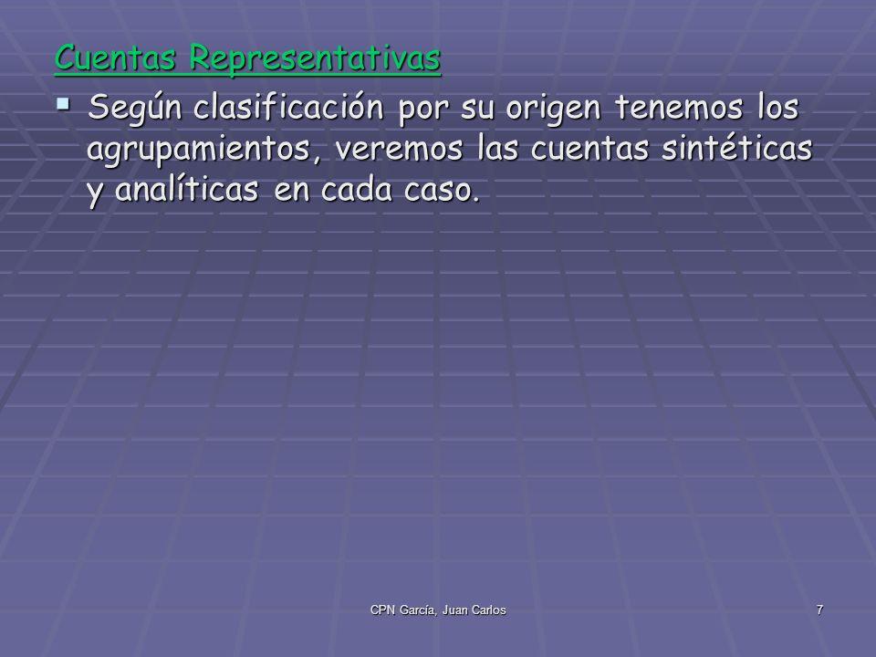CPN García, Juan Carlos7 Cuentas Representativas Según clasificación por su origen tenemos los agrupamientos, veremos las cuentas sintéticas y analíticas en cada caso.