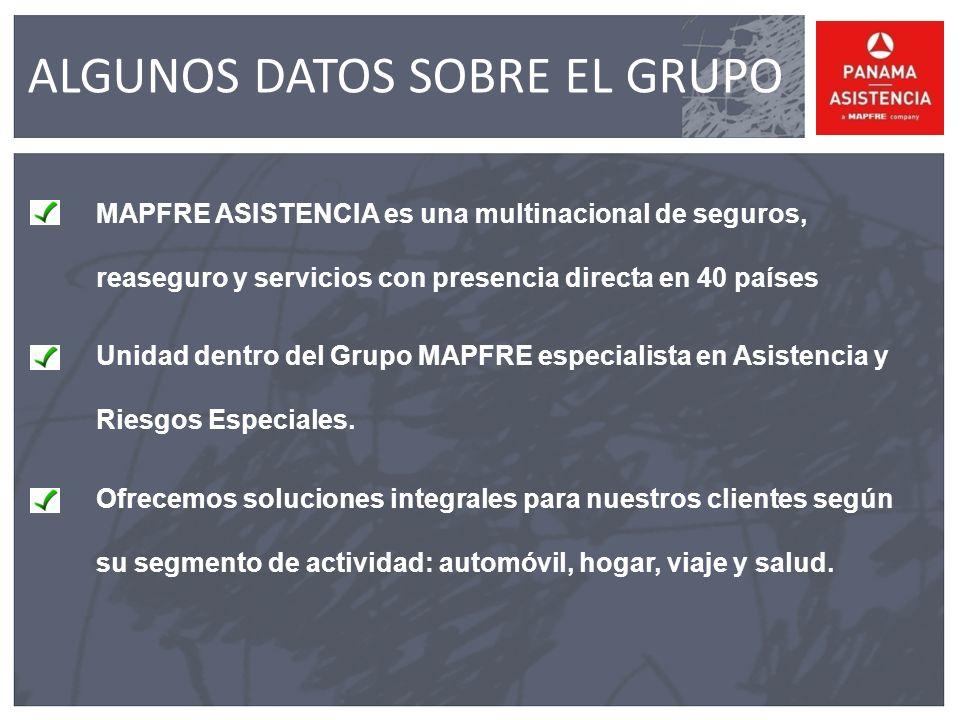 ALGUNOS DATOS SOBRE EL GRUPO MAPFRE ASISTENCIA es una multinacional de seguros, reaseguro y servicios con presencia directa en 40 países Unidad dentro del Grupo MAPFRE especialista en Asistencia y Riesgos Especiales.