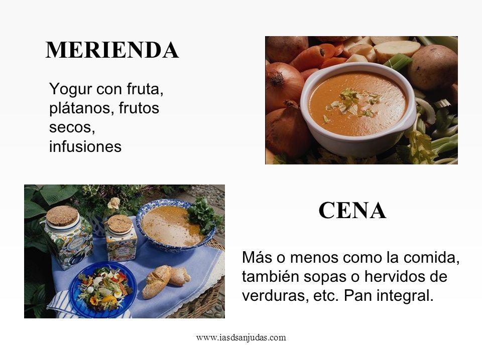 www.iasdsanjudas.com COMIDA Verduras crudas (ensaladas) y cocinadas, arroz integral y cereales integrales (cocidos o en brotes), cualquier tipo de pas