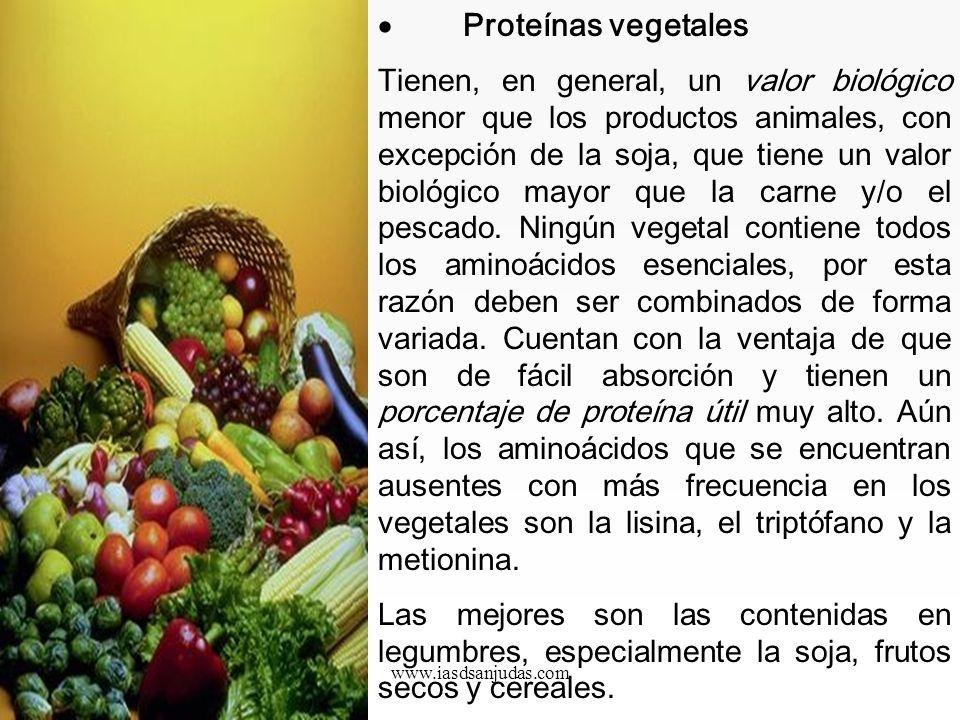 www.iasdsanjudas.com Fuentes de proteínas: Tanto las proteínas animales como las vegetales contienen aminoácidos esenciales, sin embargo, existen nota