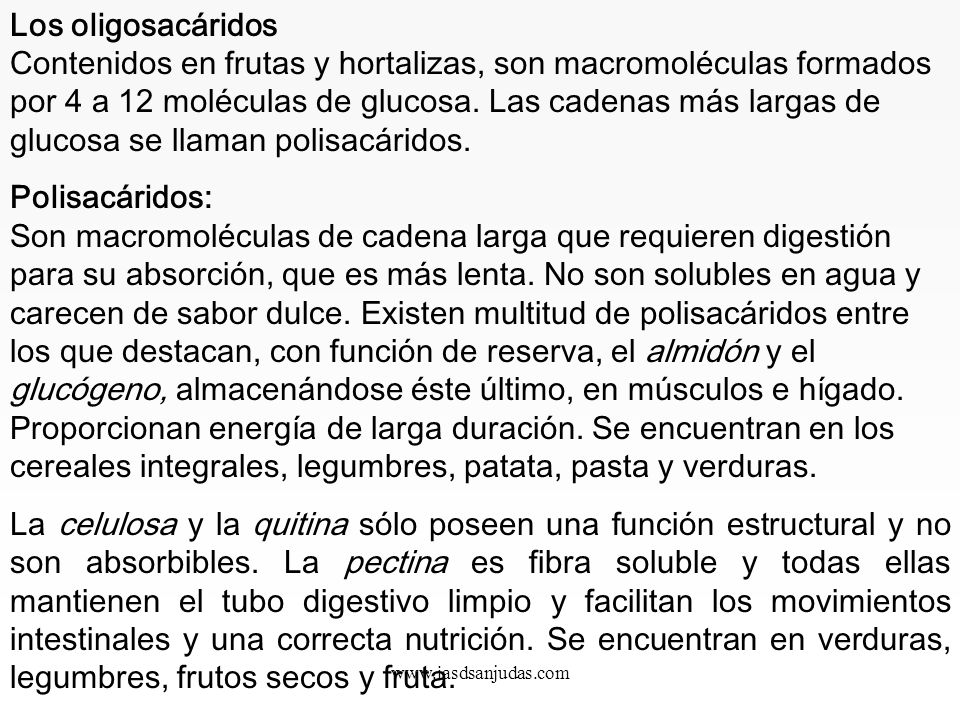 www.iasdsanjudas.com 2. Hidratos de carbono o glúcidos Los hidratos de carbono son la fuente de energía más rápida y rentable del organismo humano. La