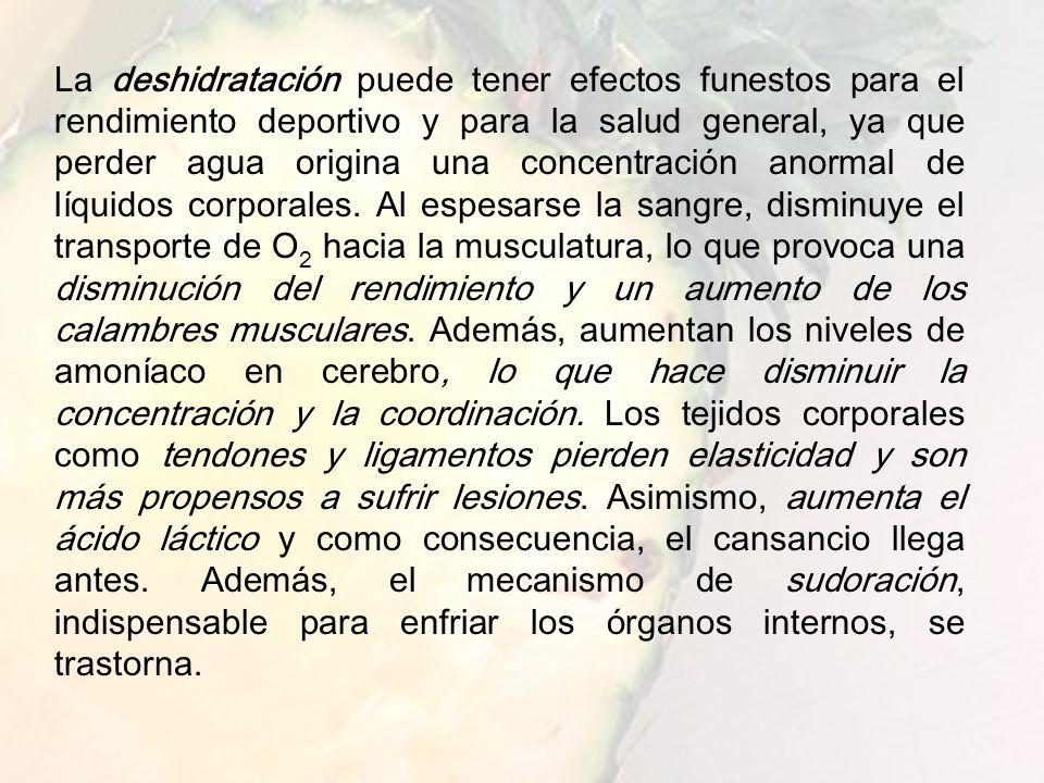 www.iasdsanjudas.com Una pérdida de líquido del 1% del peso corporal puede provocar una disminución del 4 al 6% de resistencia, un 4 a 7% de fuerza y