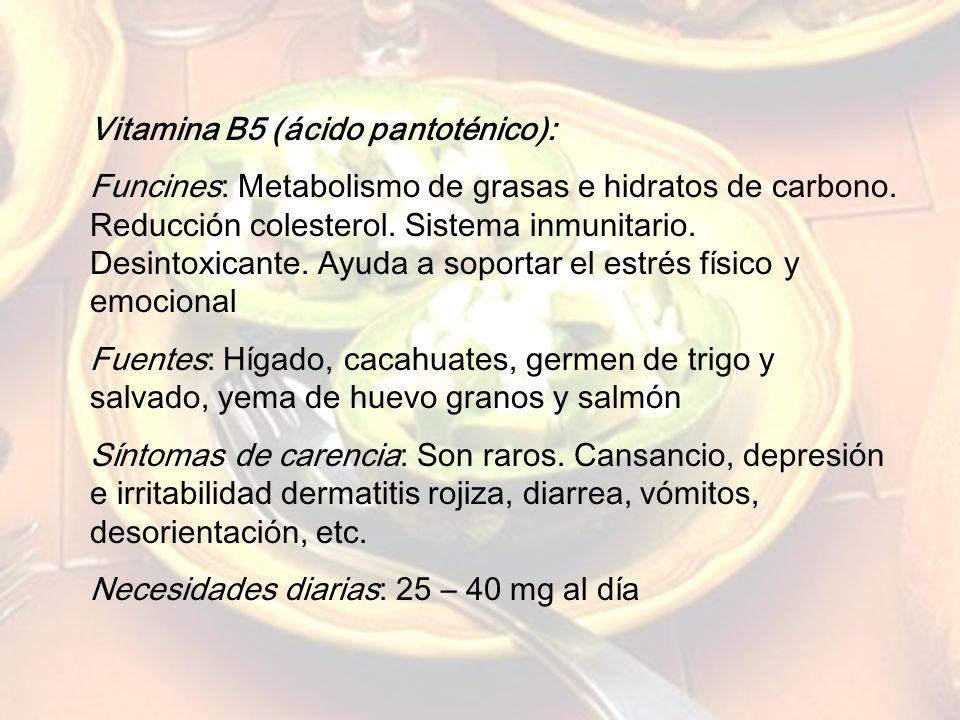 www.iasdsanjudas.com Vitamina B3 (niacina): Funciones: Control del colesterol. Buen funcionamiento del sistema nervioso central. Fuentes: Carne, pesca