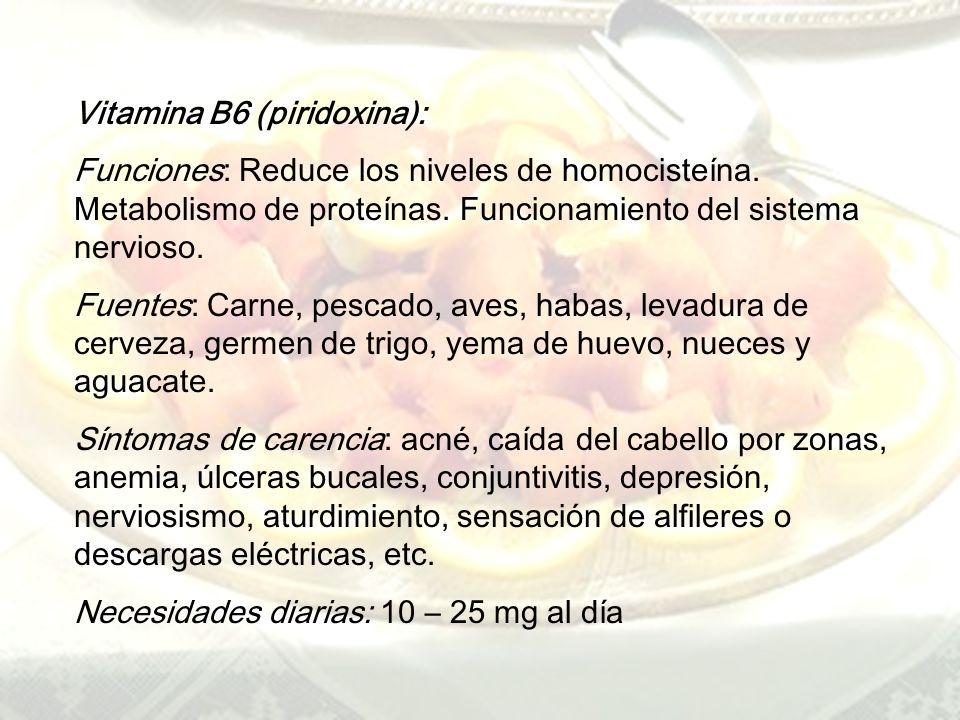 www.iasdsanjudas.com Vitamina B5 (ácido pantoténico): Funcines: Metabolismo de grasas e hidratos de carbono. Reducción colesterol. Sistema inmunitario