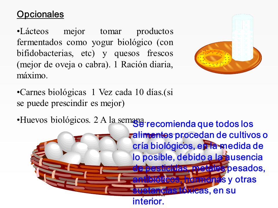 www.iasdsanjudas.com Opcionales Lácteos mejor tomar productos fermentados como yogur biológico (con bifidobacterias, etc) y quesos frescos (mejor de oveja o cabra).