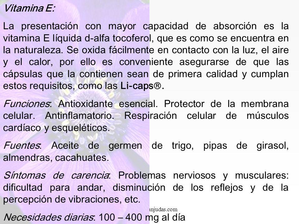 www.iasdsanjudas.com Vitamina D: Funciones: Permite una mejor absorción de los minerales, como el calcio, magnesio y fósforo, responsables de la integ