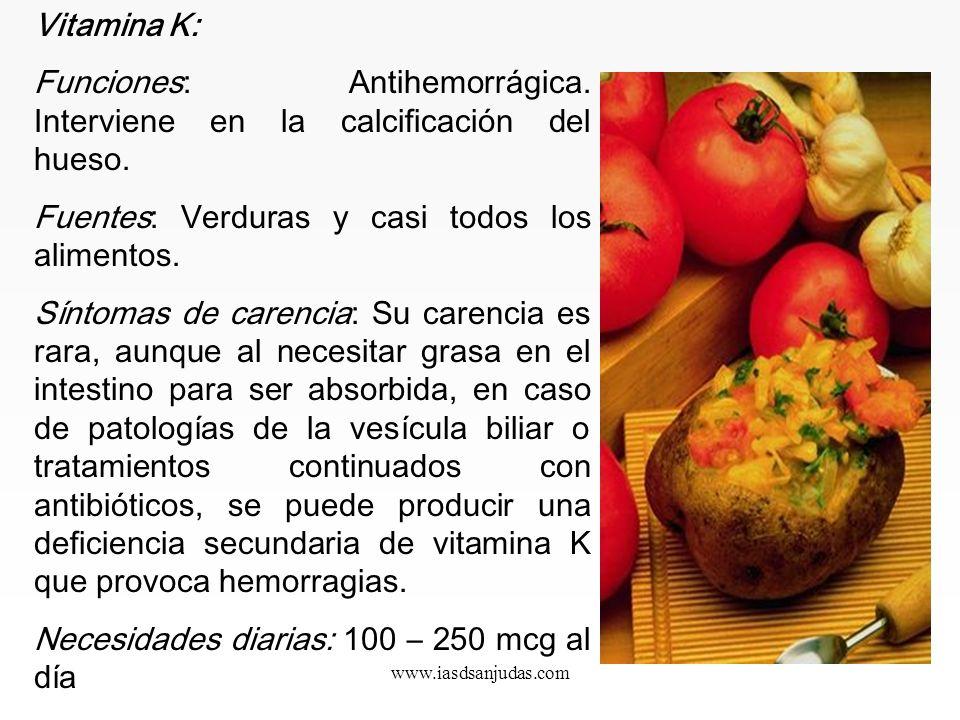 www.iasdsanjudas.com Vitamina E: La presentación con mayor capacidad de absorción es la vitamina E líquida d-alfa tocoferol, que es como se encuentra