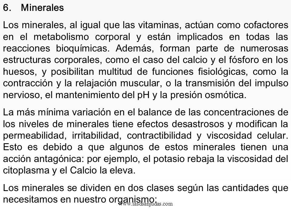 www.iasdsanjudas.com Vitamina K: Funciones: Antihemorrágica. Interviene en la calcificación del hueso. Fuentes: Verduras y casi todos los alimentos. S
