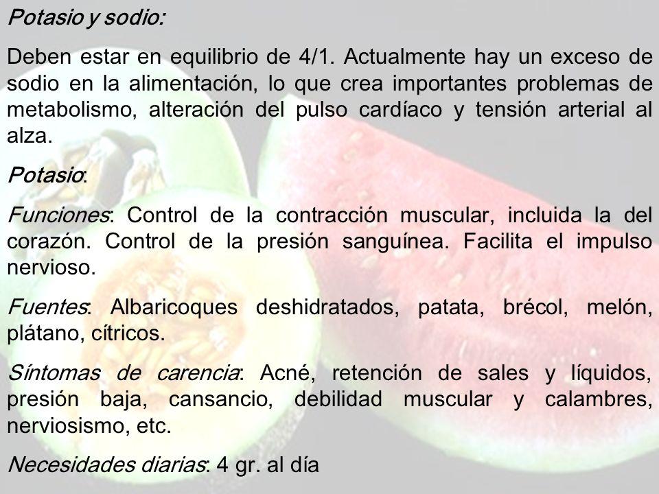 www.iasdsanjudas.com ELECTROLITOS: Son el sodio, potasio, magnesio, calcio y fósforo. Las necesidades diarias de estos minerales son mayores de 20 mg/