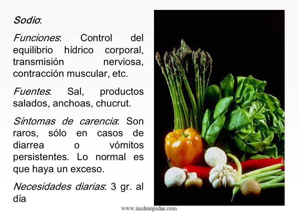 www.iasdsanjudas.com Potasio y sodio: Deben estar en equilibrio de 4/1. Actualmente hay un exceso de sodio en la alimentación, lo que crea importantes