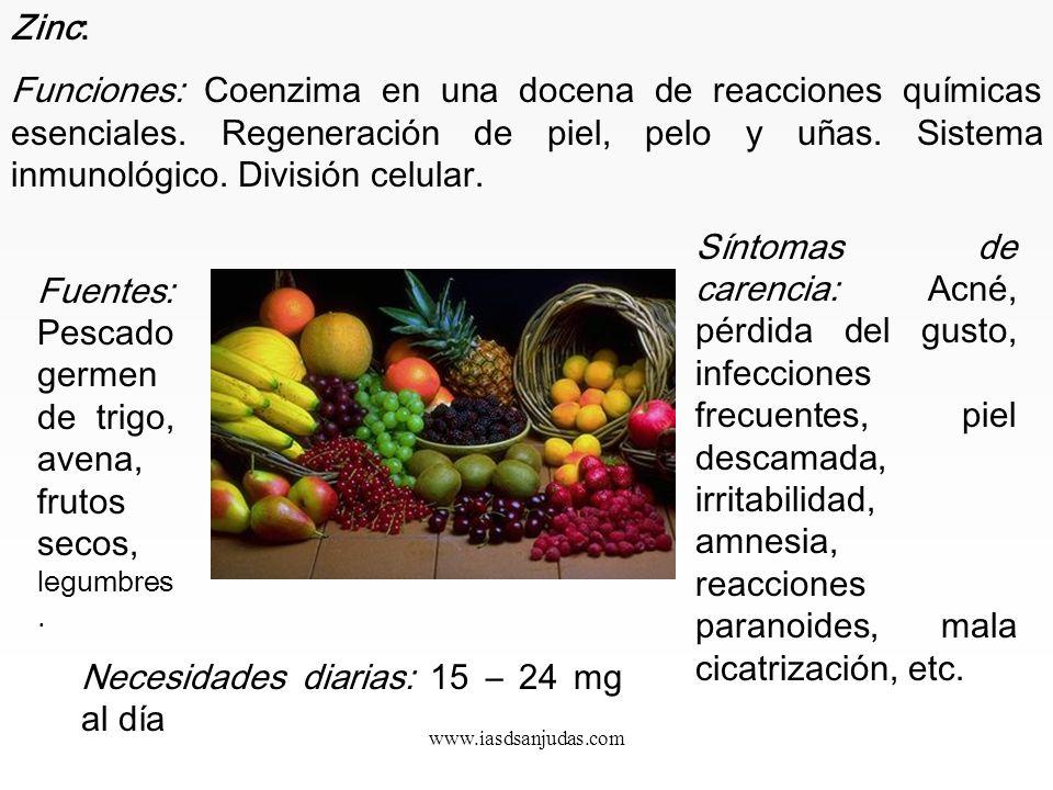 www.iasdsanjudas.com Hierro: Es importante, si se toman suplementos de hierro, que éste sea orgánico para evitar acumulaciones tóxicas en el organismo