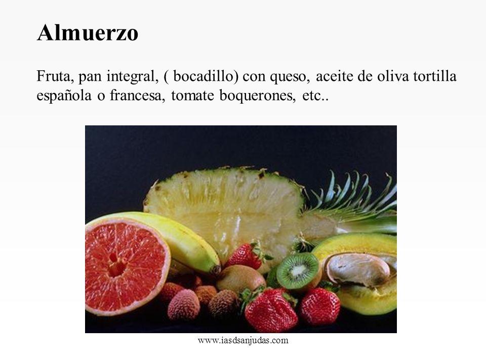 www.iasdsanjudas.com DESAYUNO Fruta, zumos naturales, cereales integrales (muesli) con yogur Biológico, pan integral con aceite de oliva y tomate. Alg