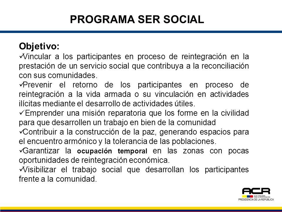 Objetivo: Vincular a los participantes en proceso de reintegración en la prestación de un servicio social que contribuya a la reconciliación con sus c