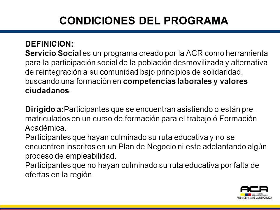 CONDICIONES DEL PROGRAMA DEFINICION: Servicio Social es un programa creado por la ACR como herramienta para la participación social de la población de
