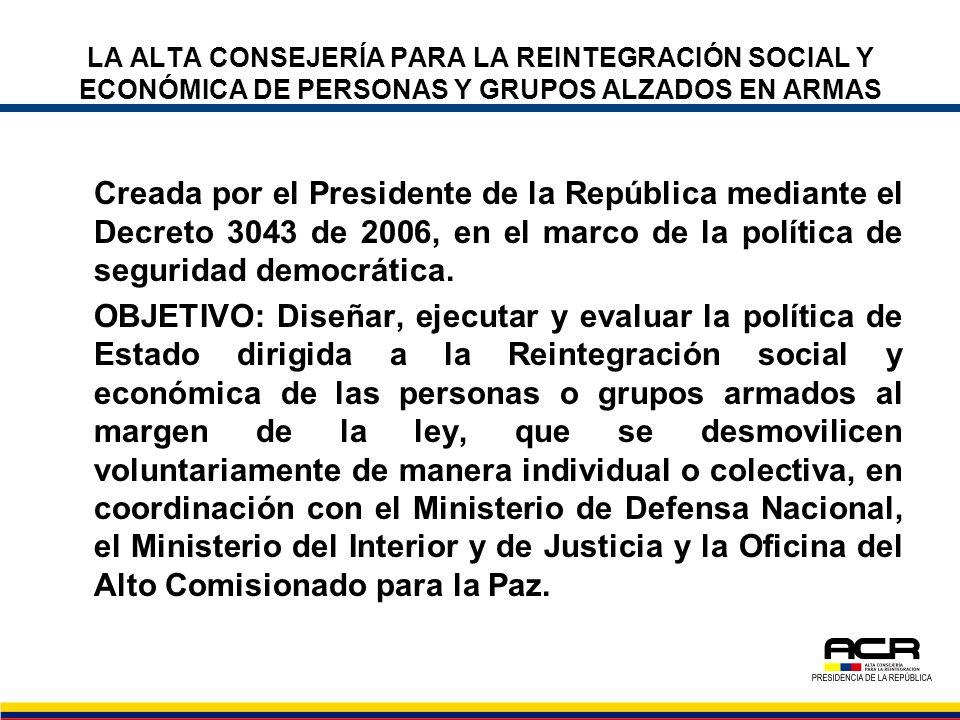 LA ALTA CONSEJERÍA PARA LA REINTEGRACIÓN SOCIAL Y ECONÓMICA DE PERSONAS Y GRUPOS ALZADOS EN ARMAS Creada por el Presidente de la República mediante el