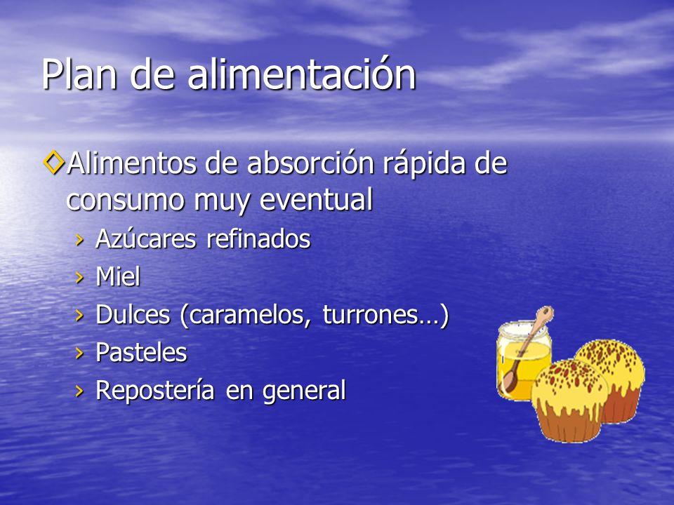 Plan de alimentación Alimentos de absorción rápida de consumo muy eventual Alimentos de absorción rápida de consumo muy eventual Azúcares refinadosAzúcares refinados MielMiel Dulces (caramelos, turrones…)Dulces (caramelos, turrones…) PastelesPasteles Repostería en generalRepostería en general