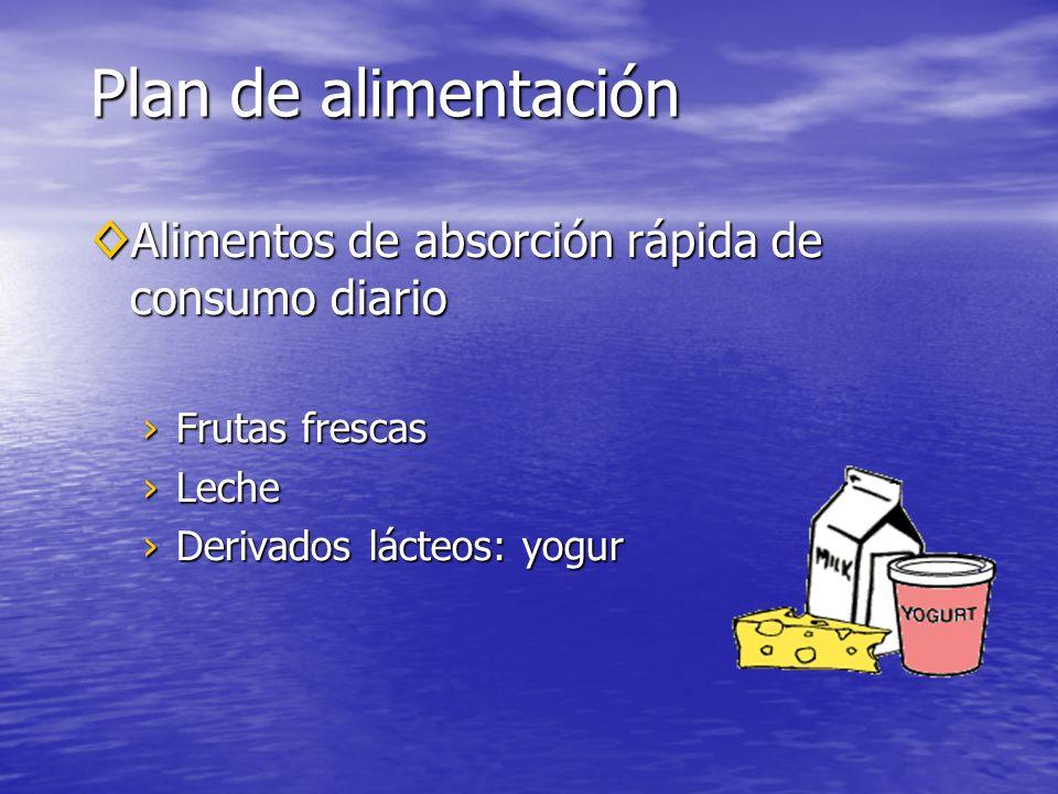 Alimentos de absorción rápida de consumo diario Alimentos de absorción rápida de consumo diario Frutas frescasFrutas frescas LecheLeche Derivados lácteos: yogurDerivados lácteos: yogur Plan de alimentación