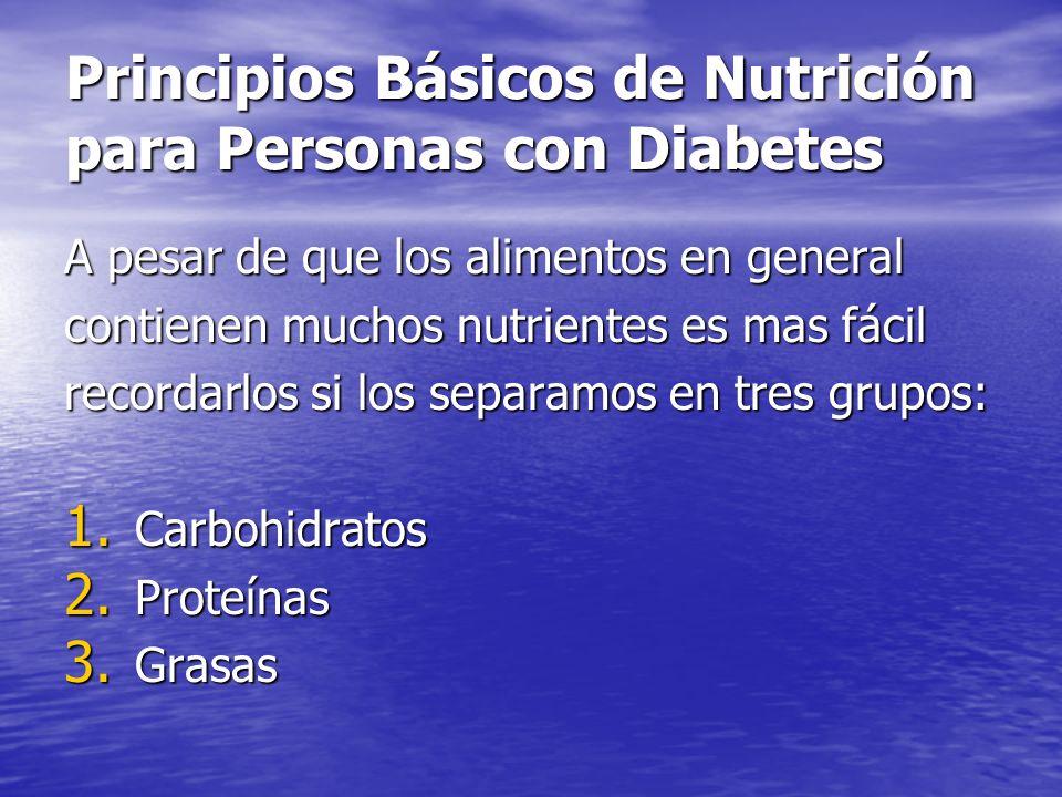 Principios Básicos de Nutrición para Personas con Diabetes Carbohidratos: Carbohidratos: Estos alimentos incluyen pan, papas, arroz, galletitas, azúcar, frutas, verduras y pastas.