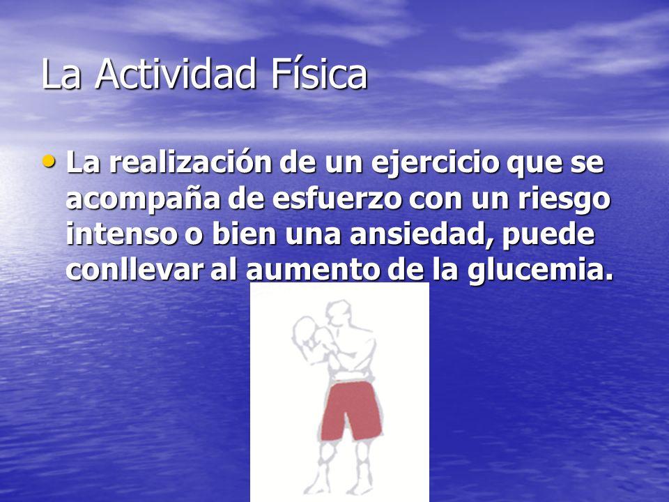 La Actividad Física La realización de un ejercicio que se acompaña de esfuerzo con un riesgo intenso o bien una ansiedad, puede conllevar al aumento de la glucemia.