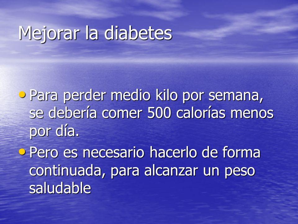 Mejorar la diabetes Es necesario desarrollar hábitos de alimentación saludables, y para mantener el peso logrado, se deberá continuar con esos hábitos Es necesario desarrollar hábitos de alimentación saludables, y para mantener el peso logrado, se deberá continuar con esos hábitos